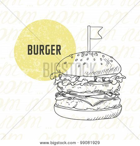Illustration of hand drawn burger/hamburger/cheeseburger in black and white. Sketched fast food in vector poster