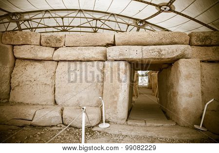 Megalitic temple complex - Hagar Qim - archeological exacavations in Malta poster