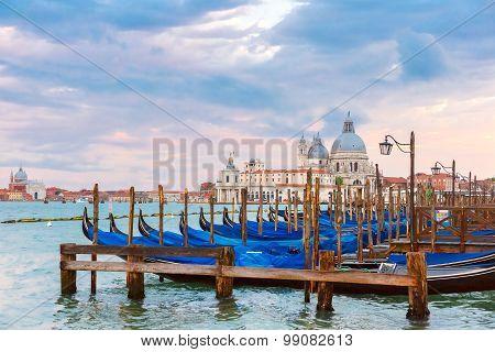 Mooring for gondolas in Venice, Italy