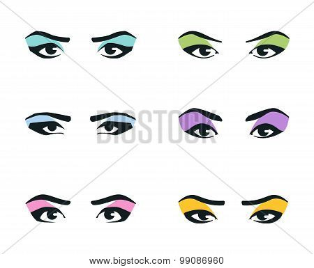 eyes icons set. girl, young woman or fashion, cosmetic, makeup sign