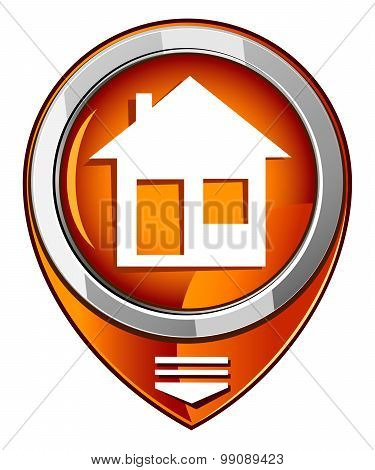 Illustration Of Home Icons, House Silhouettes Orange Pointer