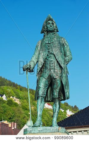 Exterior of the statue to Baron Ludvig Holberg in Bergen, Norway.
