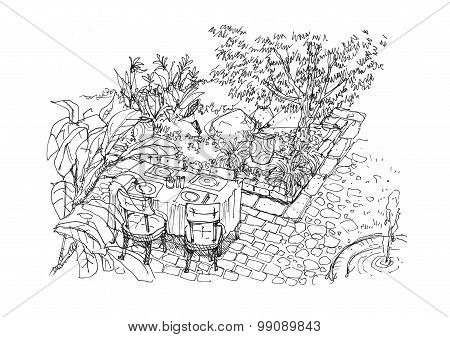 Dining Settiing In The Garden Scene Hand Drawing Illustration