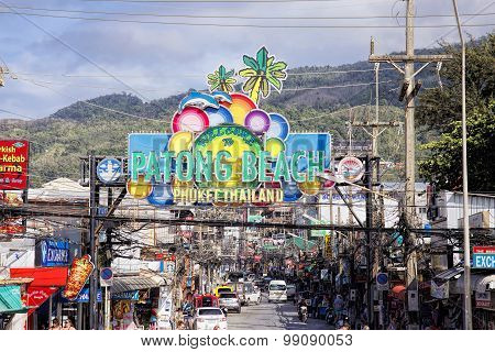 Patong Beach welcome sign at entrance to Bangla Road, Phuket