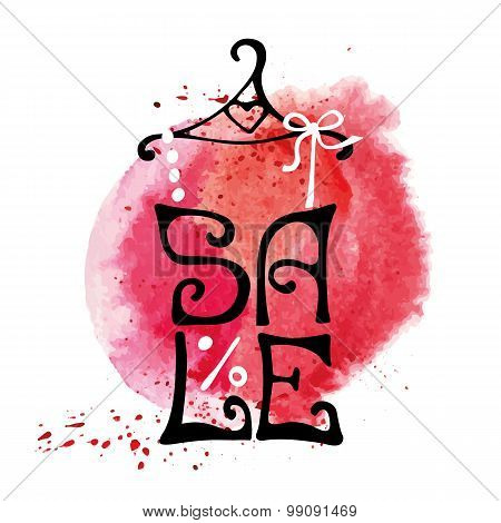 Sale lettering.Shirt,watercolor red splash.Typographic design
