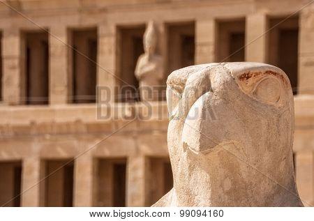 Horus Guarding Hatshepsut Temple In Egypt, Valley Of The Kings, Luxor, Egypt.