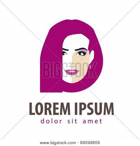 beauty salon vector logo design template. girl, young woman or fashion, makeup icon