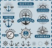 Set of Nautical, Navigational, Seafaring and Marine insignia logotype vintage design with anchor, rope, steering wheel, starburst, sunburst element | Only Free Font Used, Vector illustration poster