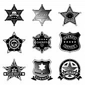 Set of vector sheriff or marshal badges and stars. Police american, law and policeman, rank officer, vector illustration poster