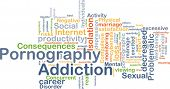 Background concept wordcloud illustration of pornography addiction poster