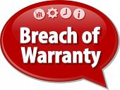 Speech bubble dialog illustration of business term saying Breach of Warranty poster