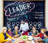 Leader Support Teamwork Strategy Motivation Concept poster