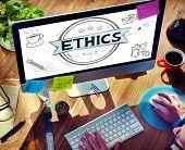 Ethics Integrity Fairness Ideals Behavior Values Concept poster