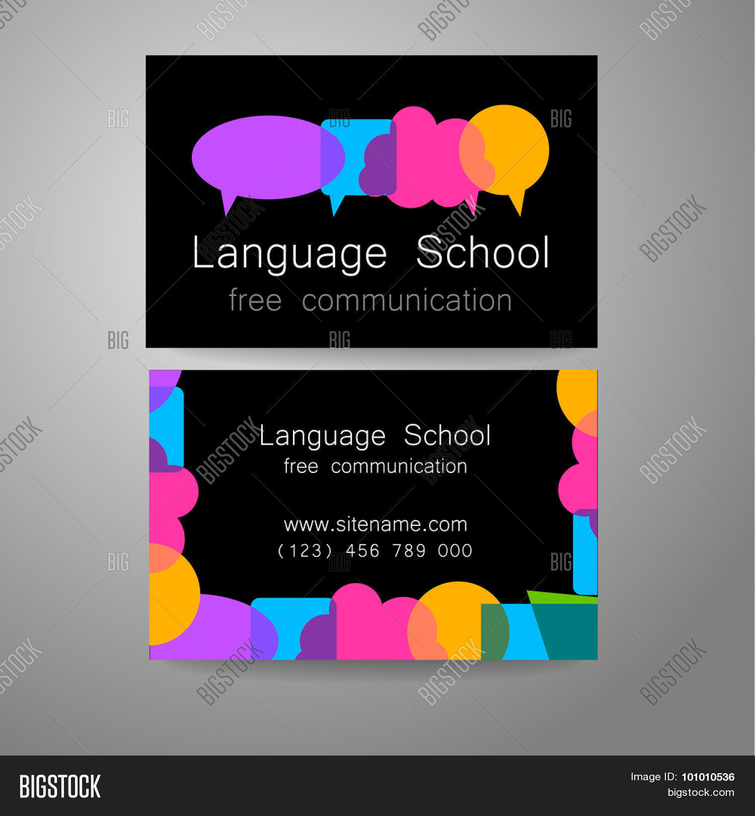 Language School Logo   A Design Template. The Idea Of The Design Mark For  The  Club Card Design