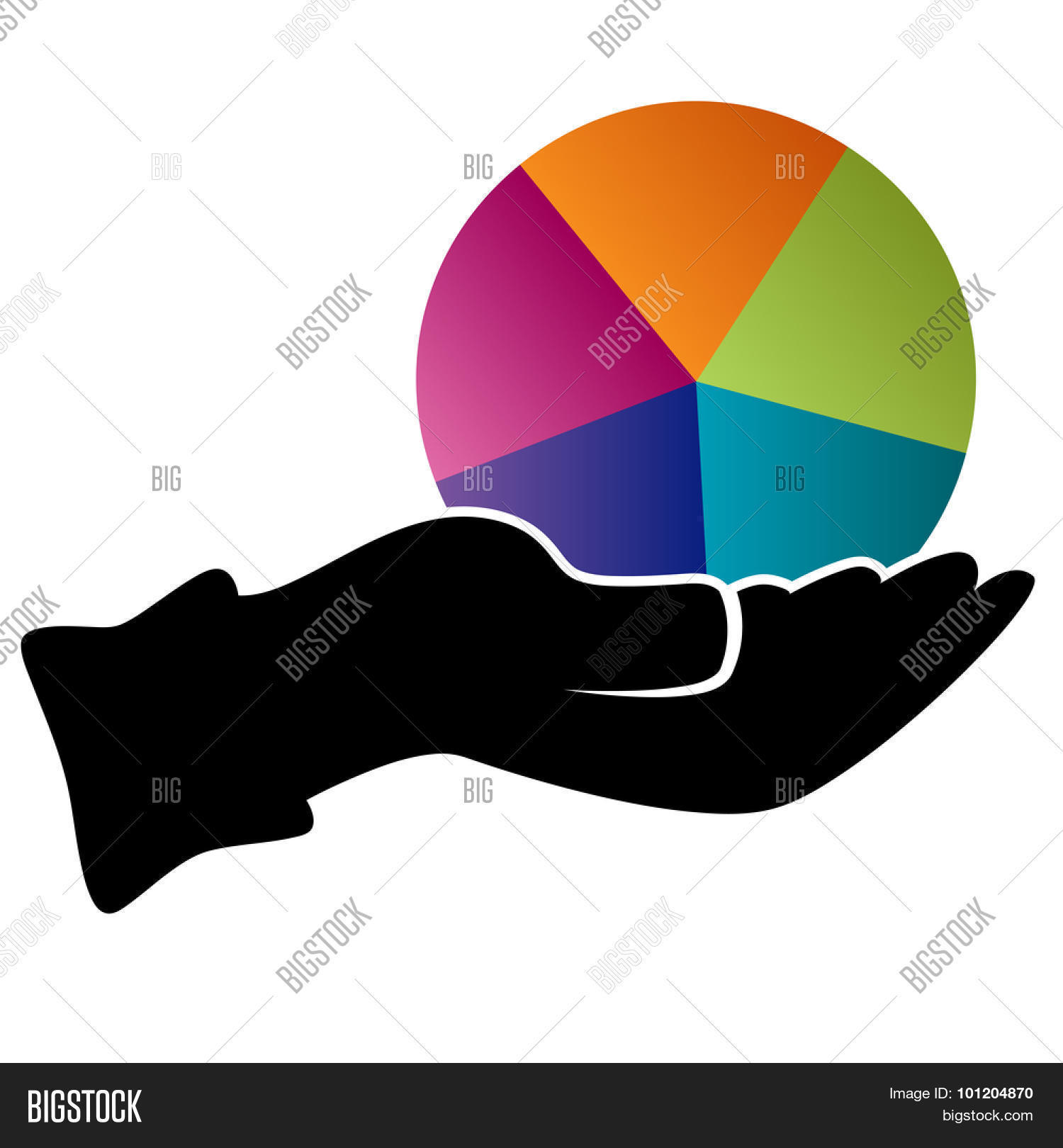 Image hand holding pie chart vector photo bigstock an image of a hand holding a pie chart representing diversification icon nvjuhfo Gallery