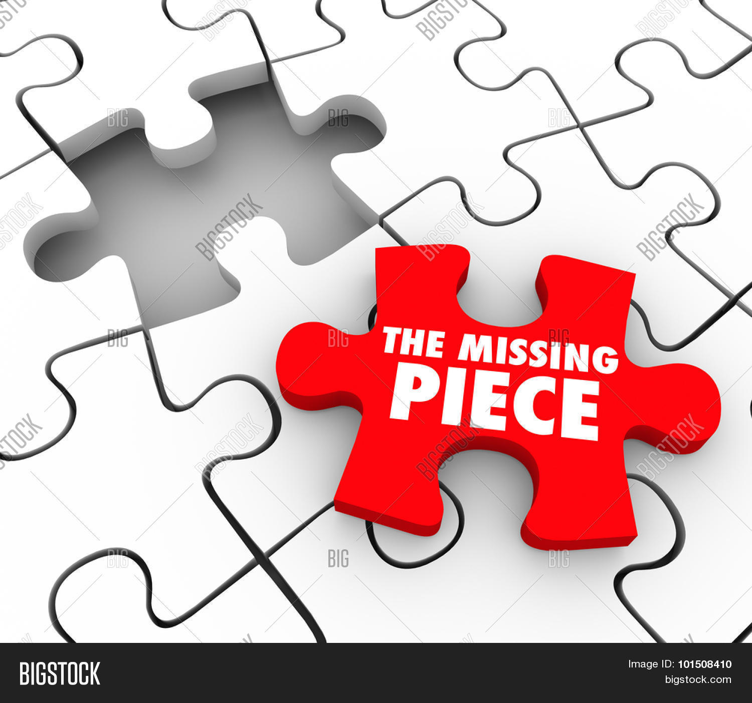 The Missing Piece Words On A Red Puzzle To Complete And Finish