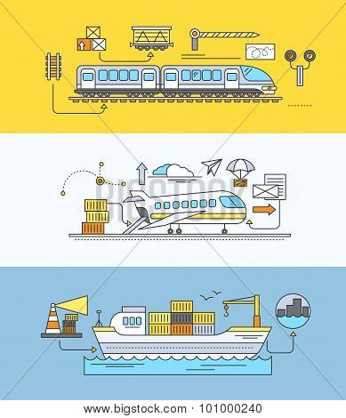Concept of Freight Forwarding rail by sea and air. Transport delivery, shipping import industry, distribution and logistic, export railway transportation. Set of thin, lines, outline flat icons poster