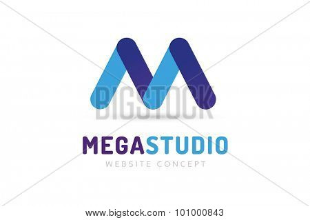 Abstract M letter vector logo icon template. M vector, m letter logo, web studio, design studio, round shape, logo icon, company m logo, abstract logo, design m element, creative idea. Company logo