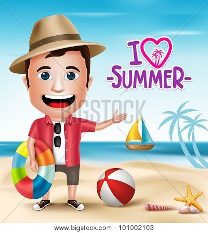 3D Realistic Tourist Man Character Wearing Summer