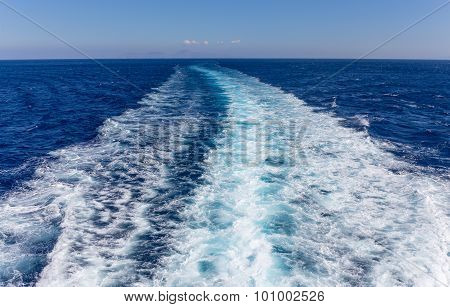 Wake in the ocean made by cruise ship