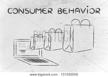 Consumer Behavior On The Web (illustration Of Bags Coming Out Of A Laptop)