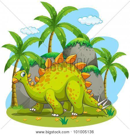 Green dinosaur walking in the park illustration