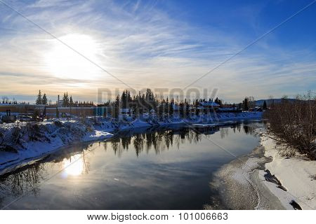 Sunset Time, Fairbanks Downtown, River