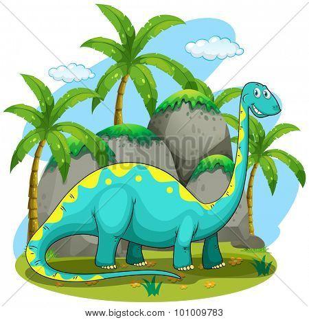 Long neck dinosaur standing in the field illustration