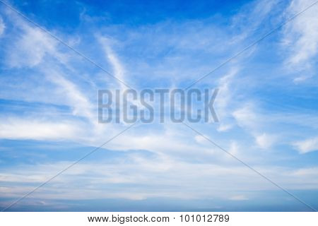 Altostratus And Altocumulus. Blue Sky And Clouds