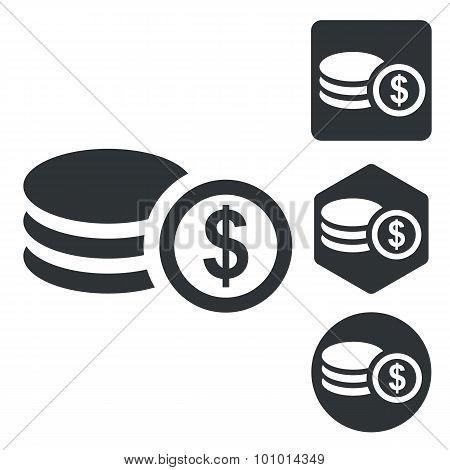 Dollar rouleau icon set, monochrome
