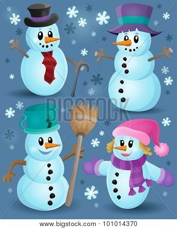 Snowmen theme collection 1 - eps10 vector illustration.