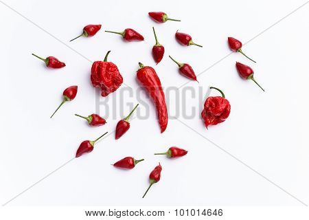 Hot Chilli Peppers Isolated On White