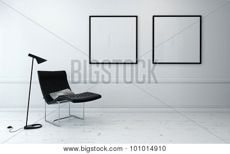 Modern Chair and Floor Lamp in Sparsely Decorated Room with Minimalist Framed Artwork Hanging on Wall. 3d Rendering