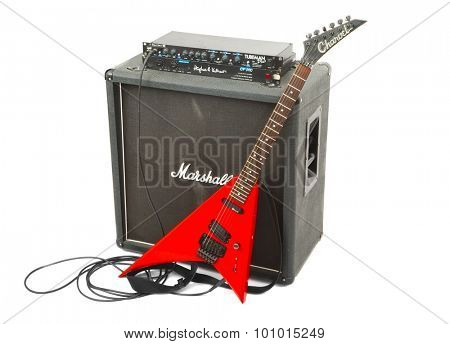 BUDAPEST, HUNGARY - JUNE 22, 2015: Marshall guitar cabinet with Charvel/Jackson electric guitar. Complete kit with guitar, preamp, power amp, speaker cabinet.