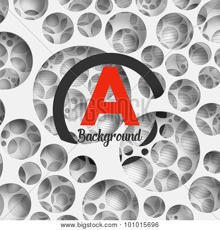Abstract background holey wall with penetrating circle border.