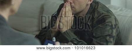 Professional Therapist Working With Soldier