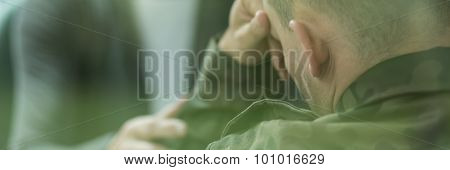 Soldier Suffering From Emotional Breakdown