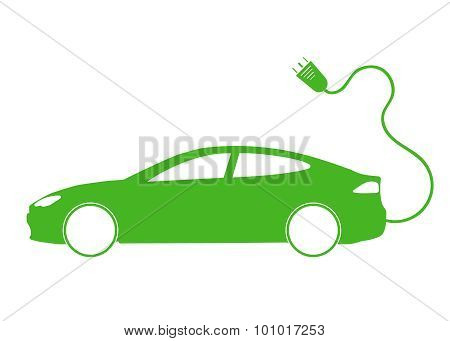 Vector illustration of electro car green icon. Line thickness fully editable poster