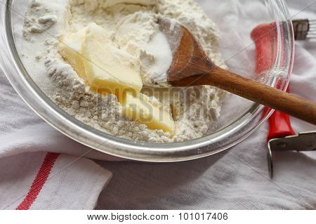 Pastry-making ingredients in a glass bowl