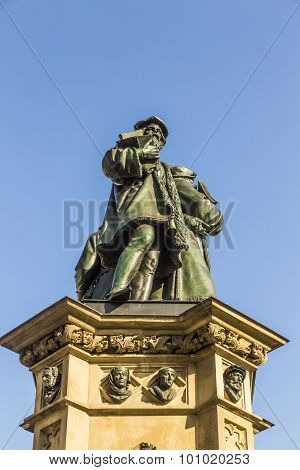 The Johannes Gutenberg Monument On The Southern Rossmarkt In Frankfurt