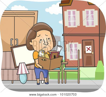 Illustration of a Woman Carrying Her Belongings in a Box After being Evicted