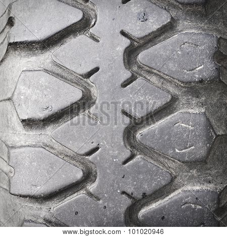 view of heavy vehicle rubber tire tread