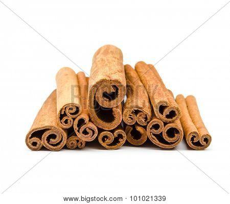 Cinnamon sticks  isolated on white background.