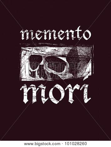 Memento more. Vector skull in grunge design style. Vector illustration. Vector design.