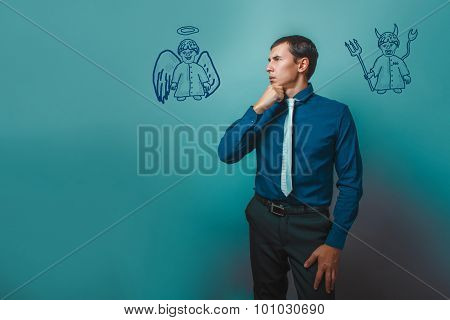 businessman man thinking looking away angel devil demon infograp