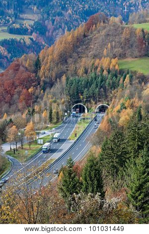 on the tauern motorway in austria, there are many tunnels