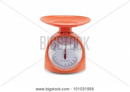 Old orange scale isolated on white background.
