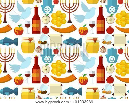 Rosh Hashanah, Shana Tova Or Jewish New Year Seamless Pattern, With Honey, Apple, Fish, Bee, Bottle,