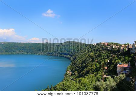The forested shores around the small volcanic Lake Nemi from Castel Gondolfo Italy poster
