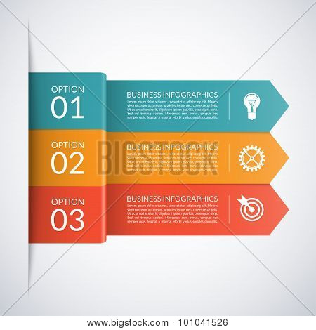 Arrow business infographic template. Numbered banners for diagram, graph, brochure, report, presenta